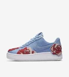 nike air force 1 wmns - sky / floral sequin