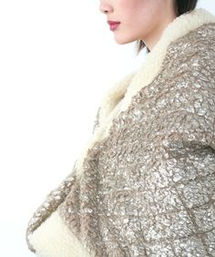 metallic woolen cape coat