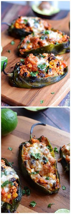 Mexican Stuffed Peppers recipe from Host the Toast  Ingredients   	5 large poblano peppers 	1 small red onion, minced 	4 cloves garlic, minced 	2 teaspoons canola oil 	1 pound raw Mexican-style chorizo, removed from casings 	1 cup cooked rice (I used brown rice) 	1 (15 oz) can black beans,