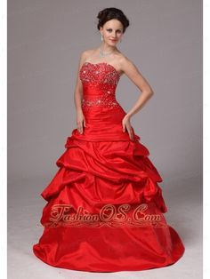 Red Beaded Decorate Up Bodice and Pick-ups Prom Dress For Custom Made In Greensboro Georgia- $157.12  http://www.fashionos.com  http://www.facebook.com/wedding.fashionos.us  You'll be red carpet ready for your prom or formal in this sensational celebrity style evening gown! The dazzling beading is encrusted with the bodice, just like the star in the night. The pretty A-line skirt is made from many tiers of ruched fabric.