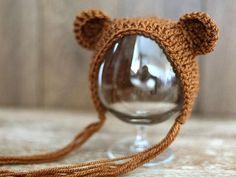 Newborn bear hat, wool hat, baby boy hat , baby girl hat, photo props