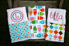 Boutique Style Burp Cloths  Owls and Argyle by SparklesSewShop