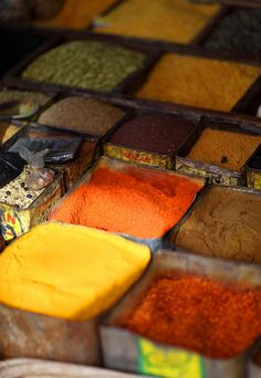 Nepal, Kathmandu by Dietmar Temps, via Flickr spices at the market.