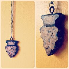 Wood arrowhead pendant on silver chain. $25.00, via Etsy. #fearofbears
