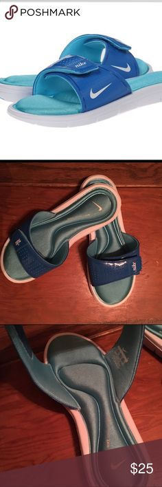 Nike Comfort Slide Sandals Blue & White Worn Once Nike Comfort Slide Dark Electric Blue/Clear Water/White sandals. These are in Like New condition, only worn once. Only sign of wear is on the bottom and it's minimal! Size 8M Nike Shoes