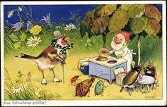 art, illustration, gnome, fairy, animal, bird, bug, insect, beetle, lady bug, floral. // Eine Erfrischung gefällig?; Refreshment?