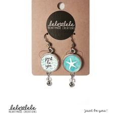 Steel earrings with quotes by LeleleleCreations - Orecchini in acciaio con pendenti Just be di LeleleleCreations