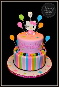 Hello Kitty Cake! Love the colors & stars & stripes with balloons & kitty on top