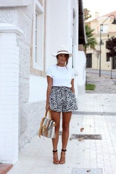 white tee, high-waisted printed shorts