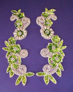 Lime and Silver flower spray pair- Sequin Appliques, Flower Spray, Silver Flowers, Silver Beads, Embellishments, Lime, Sequins, Pairs, Brooch