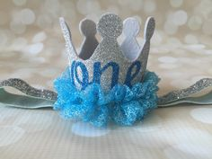 Birthday Crown Headband - First Birthday - Party Hat Crown - Glitter Silver Blue Princess Party Prop - Photo Prop - Alice in the Wonderland by AdelineRoseBoutique on Etsy https://www.etsy.com/listing/246598138/birthday-crown-headband-first-birthday