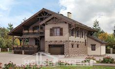 255-002-П Проект двухэтажного дома мансардный этаж, гараж, уютный домик из бризолита