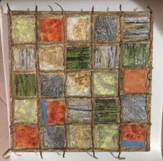fields texture medium, acrylic, string on canvas