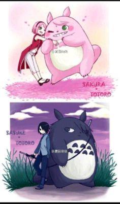 Team 7 x Totoro Sasuke Sakura Sarada, Naruto Shippuden Anime, Naruto And Sasuke, Kakashi, Naruto Cute, Naruto Funny, Totoro, Manga, Anime Crossover