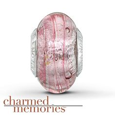 Charmed Memories® Pink Murano Glass Charm Sterling Silver