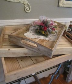 Serving Trays Three Nesting Toghether Made Of Reclaimed Wood Eco Friendly