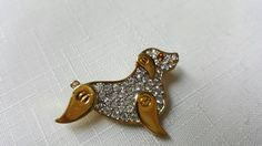Monet Dog Rhinestone brooch Sparkle Puppy Dog Lover Pin #lucylucylemoncoupons #jewellery