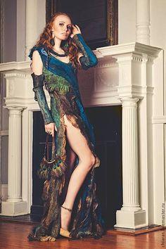 """Купить Платье ручной работы """"перо Павлина"""" - тёмно-бирюзовый, павлин, платье…"""