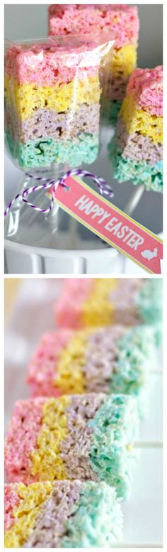 Layered Peeps Rice Krispie Treats ~ Rice Krispie Treats with a twist – they're made with marshmallow Peeps and layered for a beautiful, colorful Easter treat!