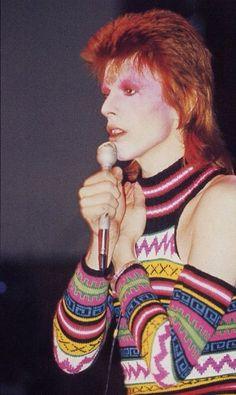 David Bowie as ZIGGY STARDUST in famous striped jumpsuit (please follow minkshmink on pinterest)