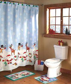 Christmas Bath Set Shower Curtain 12 Hooks Rug Contour
