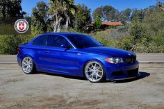 Blue BMW 135i with HRE P101 in Brushed Clear Wheels And Tires, Car Wheels, Alto Car, Bmw Girl, Bmw Performance, 135i, Bmw Classic Cars, Bmw 1 Series, Honda Cars