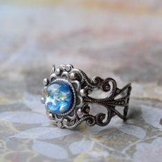 Blue Fire glass Opal silver Filigree Ring