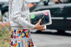 Fashion detail I street style detail I colourful prints I colourful Chanel outfit I Chanel embellished jumper I sweater I print skirt @monstylepin