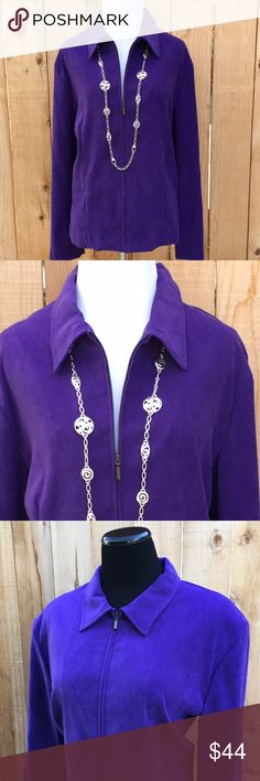 "🆕🎁 Purple Zip Up Blazer Gorgeous amethyst purple zip up blazer. Content is 97% Polyester & 3% Spandex. Measurements are 22.5"" pit to pit & 25"" from shoulder seam to bottom of blazer. In excellent new condition. NO damage. First two photos are true to color. Price cut was $44. Briggs New York Jackets & Coats Blazers"