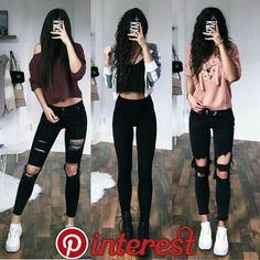 33 Casual Outfits with Skinny Jeans to Rock the Streets - Outfit Styles Teenage Outfits, Teen Fashion Outfits, Edgy Outfits, Jean Outfits, Outfits For Teens, Fall Outfits, Summer Outfits, Outfits With Black Jeans, Dress Fashion