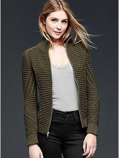 For Jules Mockneck cable knit jacket