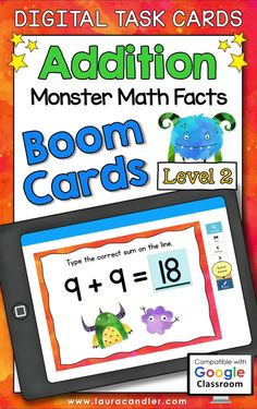 Addition Monster Math Facts Level 2 digital self-checking Boom Cards™ are a fun way for students to develop fluency with addition facts.#BoomCards #DigitalTaskCards #DistanceLearning #addition #additionfacts #mathboomcards #mathfun #mathfactpractice Teacher Hacks, Best Teacher, Homeschooling Resources, Teaching Resources, Active Engagement, Math Fact Practice, Engage In Learning, Addition Facts, Math Facts