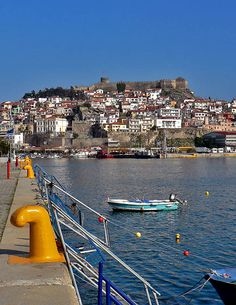 View of the port in Kavala, Greece
