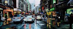 """NEW YORK By Socrates Rizquez 2019 - Enamels on aluminium Dibond painting. 120 x 48 cm. Thanks to my eyes in NYC Gonzalo Rodriguez. Original Paintings, Original Art, Nyc, Realism Art, Enamel Paint, Buy Art, Saatchi Art, New York, Street View"