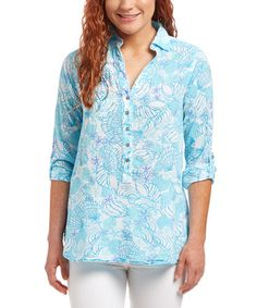 Another great find on #zulily! White Sea Tide Voile Button-Front Top #zulilyfinds