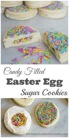 Candy Filled Easter Egg Sugar Cookies - Surprise your friends and family with these super fun candy filled Easter egg cookies. Follow the complete recipe and tutorial. So much fun! | Easter Cookies | Easter with Kids | Easter Recipe | Easter Eggs |