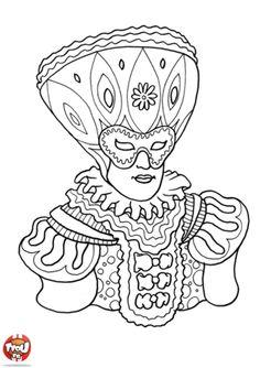 Coloriage carnaval de venise masque voile carnaval - Coloriage carnaval de venise ...
