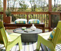 Decorate with Durable Furniture Create a cozy place to relax outdoors with outdoor furniture that can withstand the elements. Weather-worthy furniture is stylish, durable, and easy to care for. This seating area is composed of two recycled plastic chai Outdoor Room Decor, Outdoor Furniture Sets, Outdoor Living Space, Outdoor Rooms, Outdoor Decor, Deck Decorating, Home, Relaxing Outdoors, Home Decor
