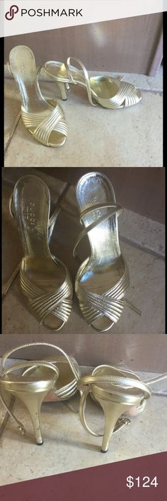 """GUCCI gold strappy heels sandals shoes dressy 4"""" stiletto heel. Excellent used condition w/only sign of wear on back of left heel(see photo). Made in Italy. As they are not my size I cannot model 🙁 Gucci Shoes Heels"""
