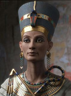 Egypt - Nefertiti reconstructed Neferneferuaten Nefertiti (ca. 1370 BC – ca. 1330 BC) was the Great Royal Wife (chief consort) of the Egyptian Pharaoh Akhenaten. Nefertiti and her husband were known for a religious revolution, in which they worshiped one god only, Aten, or the sun disc. With her husband, they reigned at what was arguably the wealthiest period of Ancient Egyptian history. ===> https://de.pinterest.com/rickmcfadden75/ancient-times/