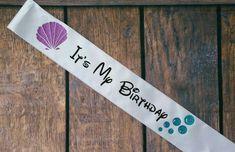 Ariel inspired birthday sash, mermaid shells, bubbles, disney, Etsy listing at https://www.etsy.com/listing/217788492/its-my-birthday-disney-inspired-ariel