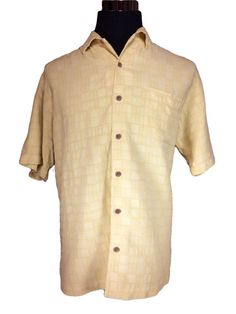 Tommy Bahama Silk Hawaiian Shirt Mens LARGE Yellow Check Short Sleeve #TommyBahama #Hawaiian