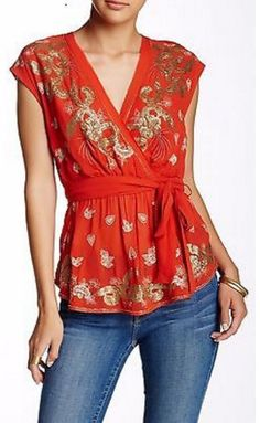 Free People Ooh La La Embroidered Embellished Blouse Top MSRP $158 Size M #FreePeople #Blouse #Casual