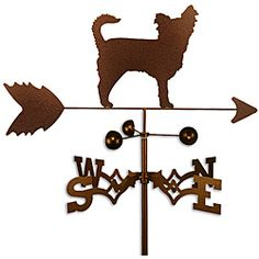 @Overstock.com.com - This weathervane is handmade of strong 14-gauge steel with a sealed ball bearing in the wind cups. The weathervane is coated with copper-colored powder coat paint, and features a Long Hair Chihuahua dog.  http://www.overstock.com/Home-Garden/Handmade-Long-Hair-Chihuahua-Dog-Copper-Weathervane/6575604/product.html?CID=214117 $53.99