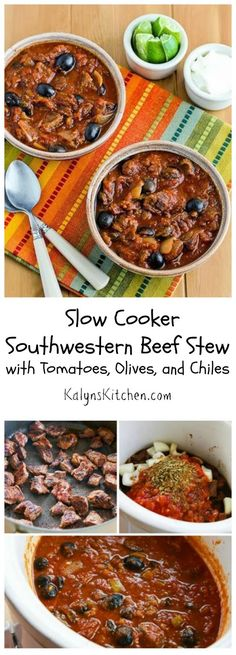 This delicious Slow Cooker Southwestern Beef Stew with Tomatoes, Olives, and Chiles is Low-Carb and Gluten-Free, and it's also Paleo if you don't add sour cream. [from KalynsKitchen.com]: