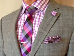Nautica suit, Jones New York shirt, Ben Sherman tie - Pink and purple are hard colors to wear but looks slick to any kind of event. Ben Sherman, Sharp Dressed Man, Well Dressed Men, Mens Attire, Mens Suits, Moda Formal, Fashion Mode, Suit Fashion, Gentleman Style