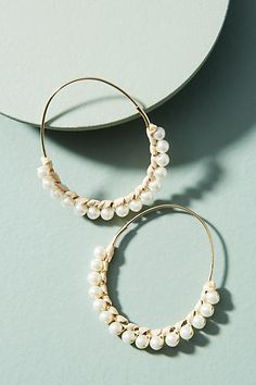 Anthropologie Callie Pearl Hoop Earrings