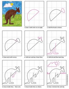 Kangaroos are pretty adorable creatures, they just need to be simplified for young artists. Here is how I had my students draw one in my watercolor class recently. • View and download Kangaroo Tutorial