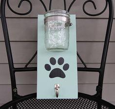 Dog Leash Holder, Leash Hanger, Sign with Hook, Mason Jar Storage, Paw Print, Wood Sign, Custom Decor by 4Lovecustomgifts on Etsy https://www.etsy.com/listing/229375309/dog-leash-holder-leash-hanger-sign-with