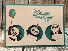 The pandas are on the loose! The great stamp set Party Pandas is one of the Sale-A-Brati . - The pandas are on the loose! The great Party Pandas stamp set is one of the Sale-A-Bration rewards - Panda Birthday, Kids Birthday Cards, Peek A Boo, Panda Party, Stamping Up Cards, Animal Cards, Pretty Cards, Kirigami, Cool Cards